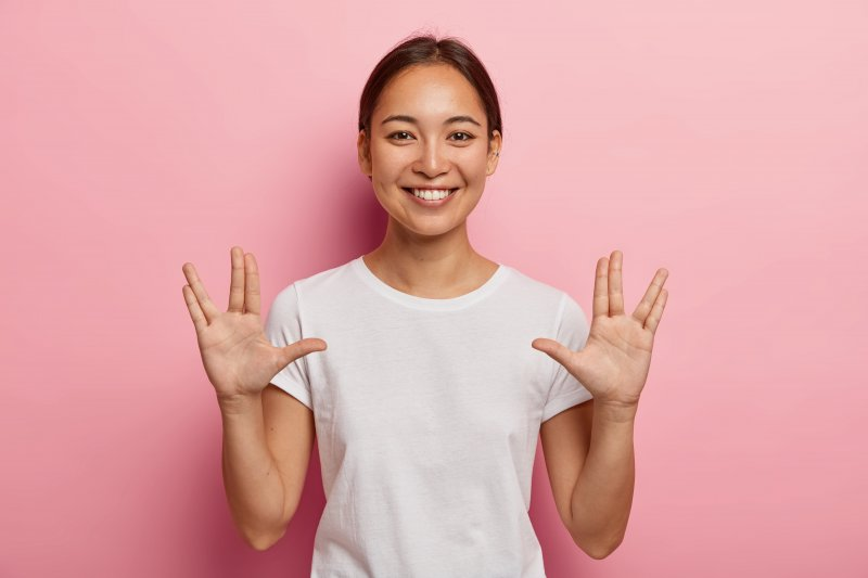 Woman using the Live Long and Prosper salute